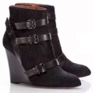 REBECCA MINKOFF calf hair ankle boots maggie wedge